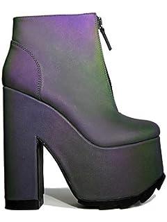 6eabd95cfbf6 Y.R.U. YRU Nightmare - Reflective High Platform Heel Front Zip Bootie