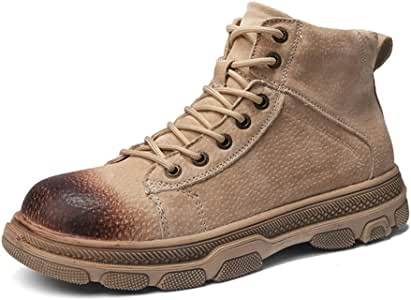 Men's Shoes-Combat Boots for Men Ankle Shoes Lace Up Genuine Leather Waterproof Breathable Fleece Lined Burnished Style Lug Sole Outdoor (Color : Sand, Size : 40 EU)