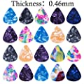 60 Pack Colorful Celluloid Guitar and Brass Picks, Plectrums for Guitar Bass (0.46mm, 0.71mm, 0.96mm Thickness)