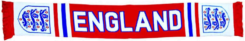 Bufanda Oficial de Inglaterra con el Escudo del Mundo de 3 Leones y Euros de f/útbol