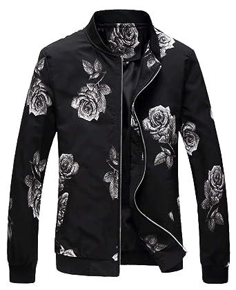 9f9524d41799c EMAOR Mens Men's Casual Flower Varsity Baseball Bomber Jacket Lightweight  Floral Coat