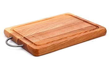 Amazon Com Cutting Board With Juice Groove And Metal Handle Wooden