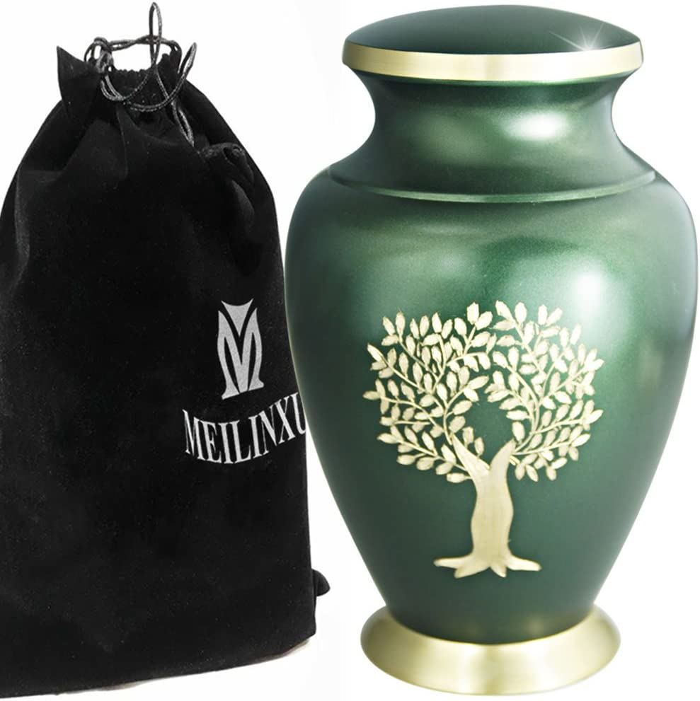 Cremation Urn for Human Ashes Adult - Brass Funeral Urn for Women or Men - Large Metal Hand Engraved - Display Burial at Home or in Niche at Columbarium (Golden Tree of Life/Turquoise Urn for Adults