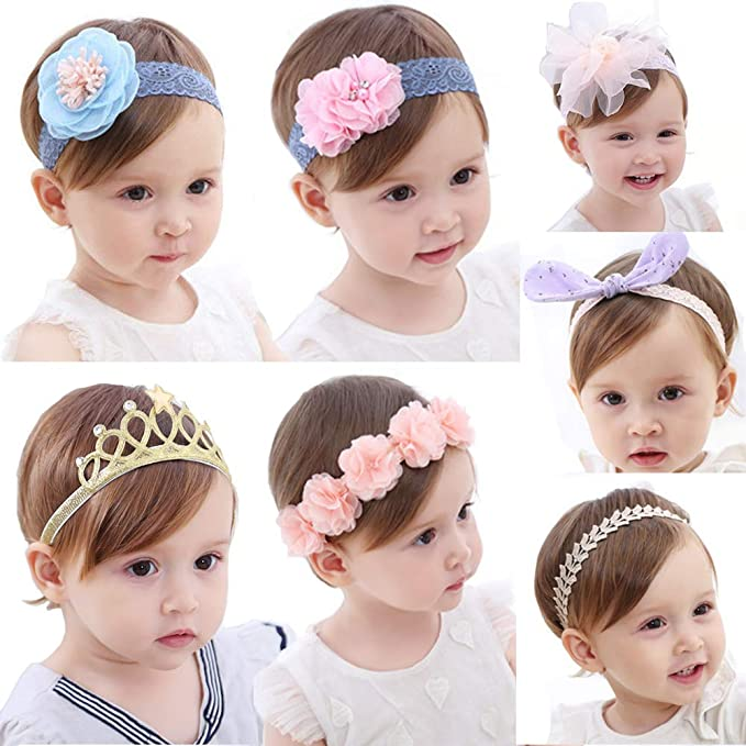 45b5fdbde Amazon.com: Baby Girl Headbands and Bows Flower Hair Band Infant ...