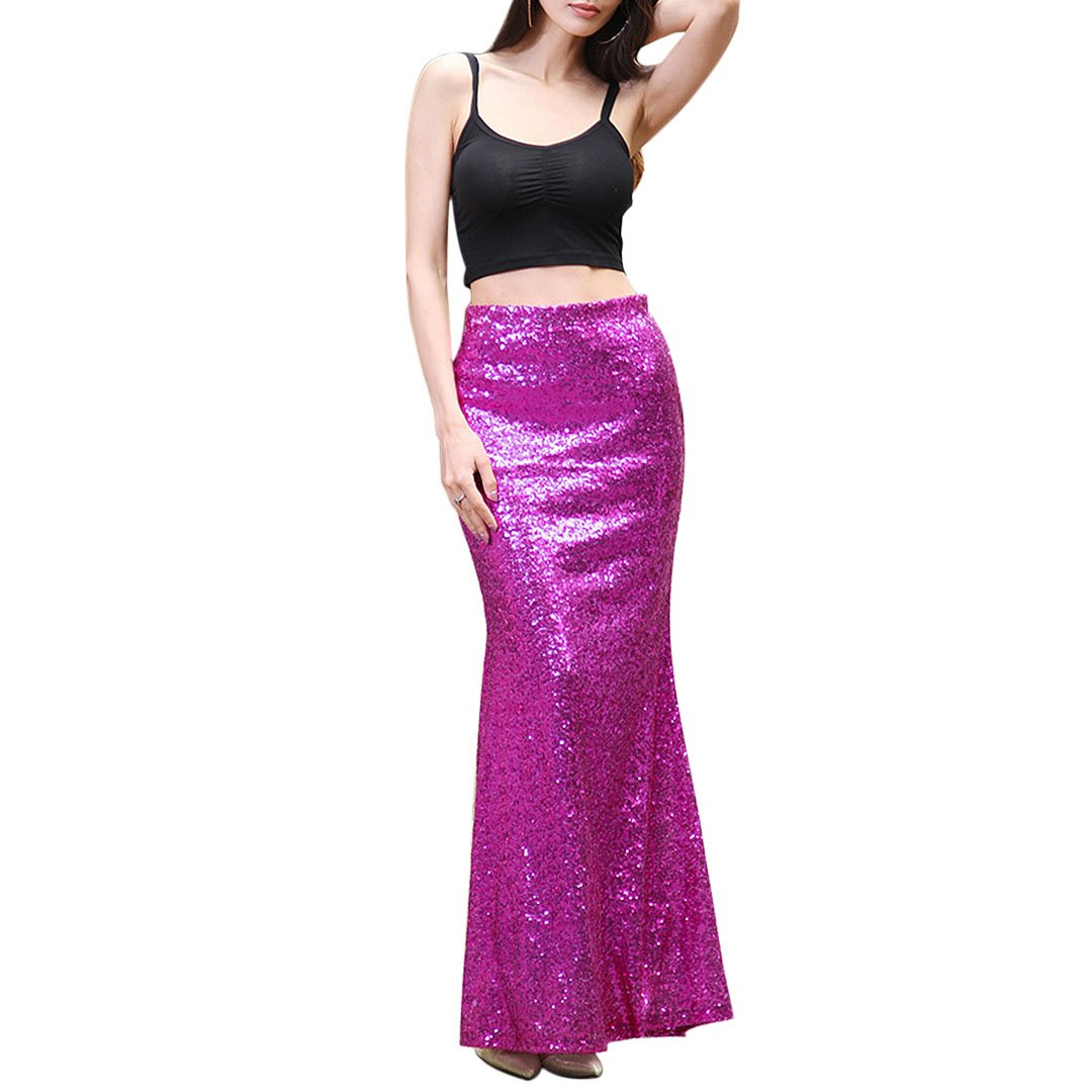 Purple Novia's Choice Women Shiny Sequin Maxi Skirt Full Length Weddding Prom Party Skirt Mermaid Long Skirt