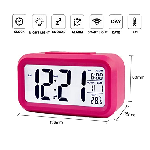 LED reloj despertador digital, LAFEINA pantalla de gran noche despertador reloj despertador con calendario, indicador de temperatura, función de repetición, ...