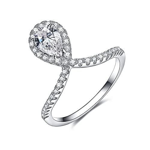 Halo Solitaire Enement Ring   Licliz Cubic Zirconia Sterling Silver Ring Halo Engagement Ring