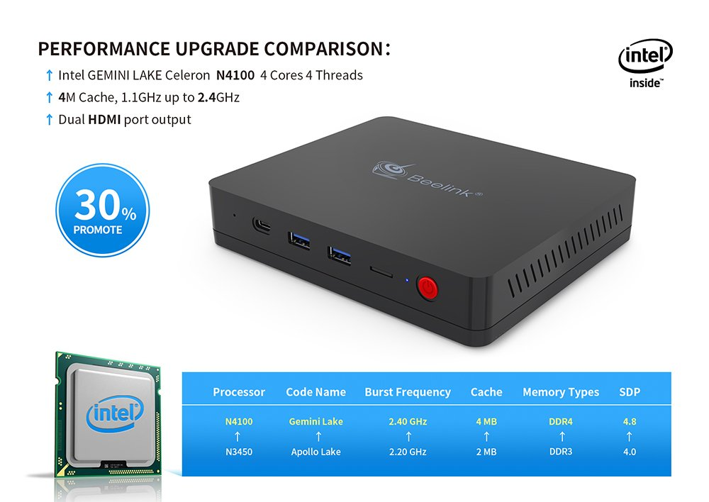 Beelink SII Mini PC DDR4 4GB +(C:) 64 GB Intel Gemini Lake Celeron N4100 Processor with Dual HDMI 2.0 / USB 3.0 / HD Graphics 600 /4K Ultra HD /2.4+5.8G ...