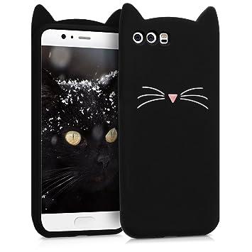 kwmobile Funda para Huawei P10 - Carcasa Protectora de [Silicona] y diseño con Gato - Cover [Trasero] de móvil