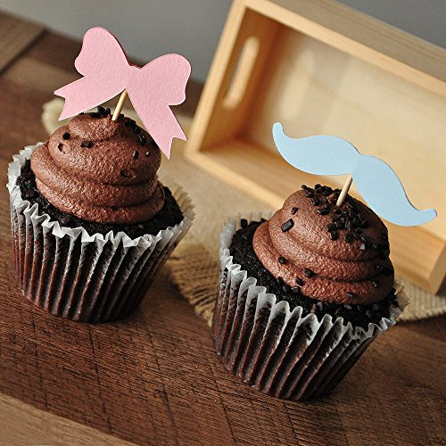 Gender Reveal Party Decor. Mustache or Bow Cupcake Toppers 12CT. (Gender Reveal Party Food Ideas)