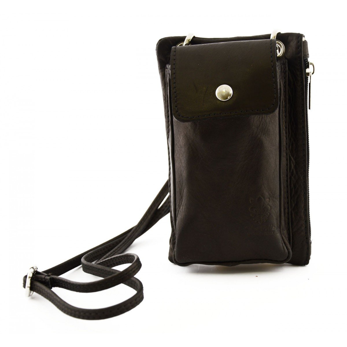 Dream Leather Bags Made in Italy Genuine Leather Mini Unisex Pouch with Pocket for Smartphone Color Cognac