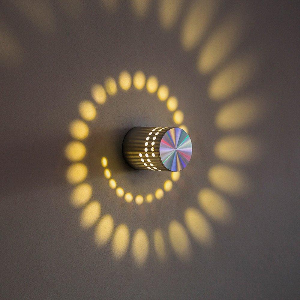 3W Spiral LED Wall Light, Leagway Aluminum Sconce Ceiling Light Aisle Bedroom Vestibule Foyer Cafe Corridor LED Lamp, Creative Indoor Wall Decoration Light Lighting, AC85-265V (Warm White)