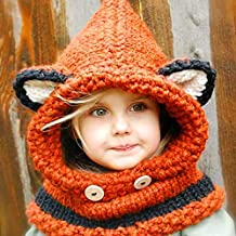 Dream's Story Winter Windproof Knitted Hat Fox Ear Long Hooded Scarf Earflap Beanie Set shawl hat For baby kids Boys Girls