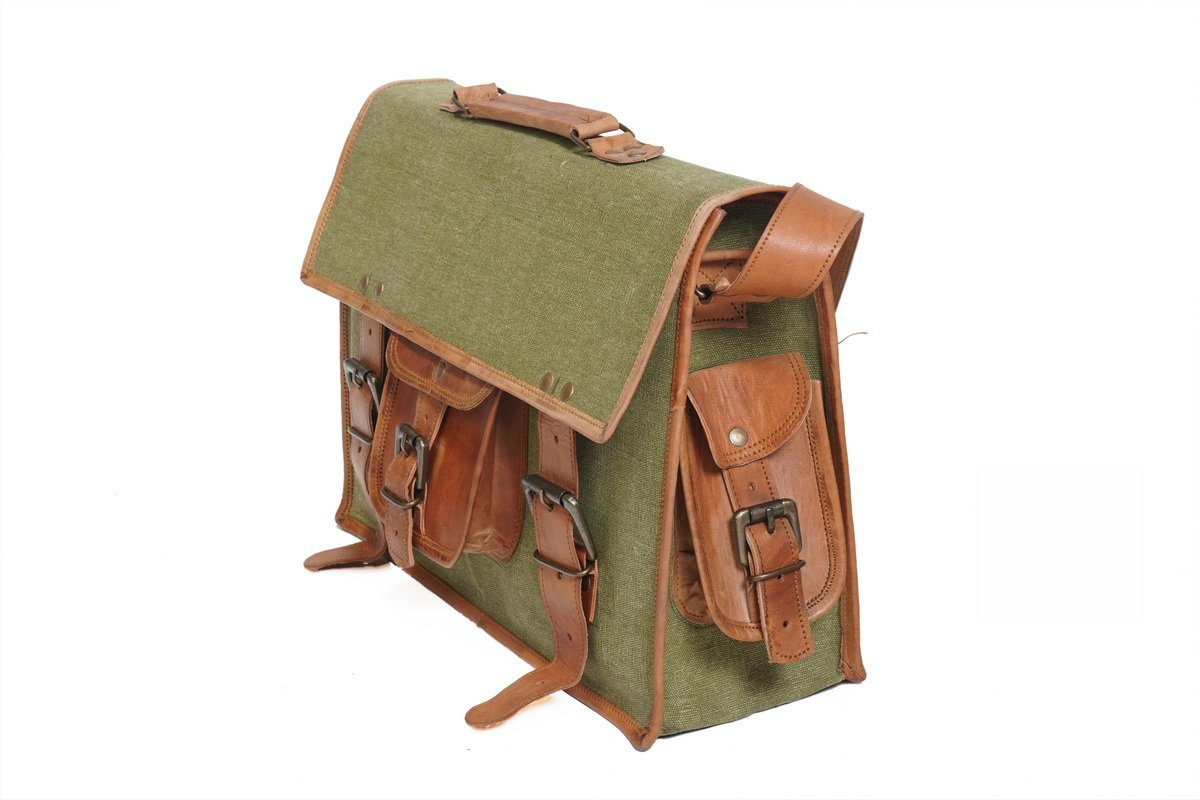 Messenger Bag Leather Full Flap Laptop Shoulder Bag Brown Vintage Fashionable Light Weight Bag