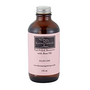 Karma Organic Natural Rose Oil Nail Polish Remover - Non Toxic, Vegan, Cruelty Free, Acetone free – Nails Strengthener for Fingernails – 4 fl. Oz.