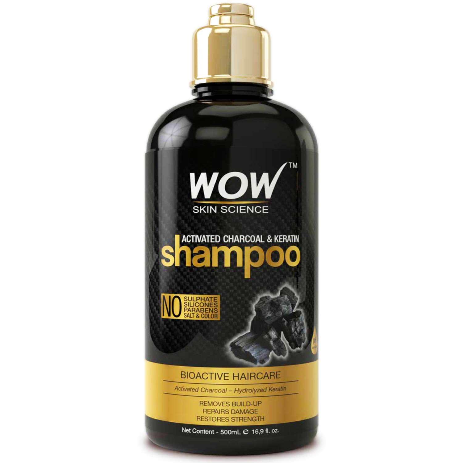 WOW Activated Charcoal & Keratin Shampoo - Remove Dirt, Filth - Restore Dry, Damaged Hair & Scalp For Soft, Glossy, Shiny Hair- Sulfate and Paraben Free - All Hair Types, Adults & Children - 500 mL by BUYWOW