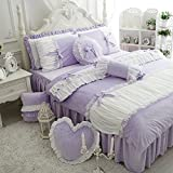 FADFAY Cute Girls Short Plush Bedding Set Romantic White Ruffle Duvet Cover Sets 4-Piece,Purple Queen