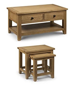 Julian bowen astoria oak coffee table 2 drawers nest tables set julian bowen astoria oak coffee table 2 drawers nest tables set living room furniture watchthetrailerfo