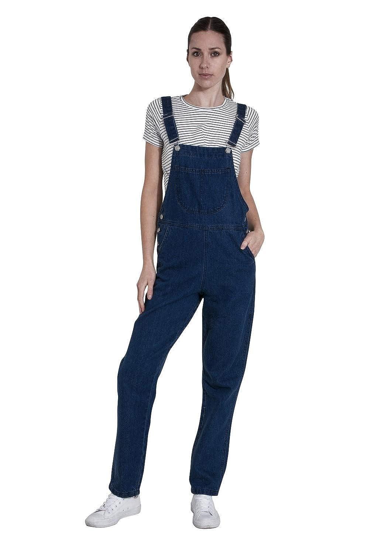 Wash Clothing Company Ladies Darkwash Denim Dungarees Regular Fit Bib-Overalls Courtney