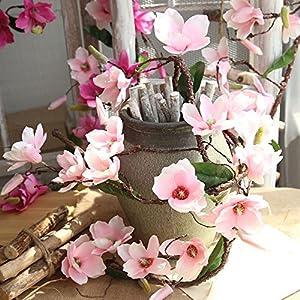 vmree Simulation Floral, Artificial Magnolia Vine DIY Garland Lifelike Flower Leaf Arrangement Morden Interior Decor Home Garden Wedding Bridal Party Ornament 54