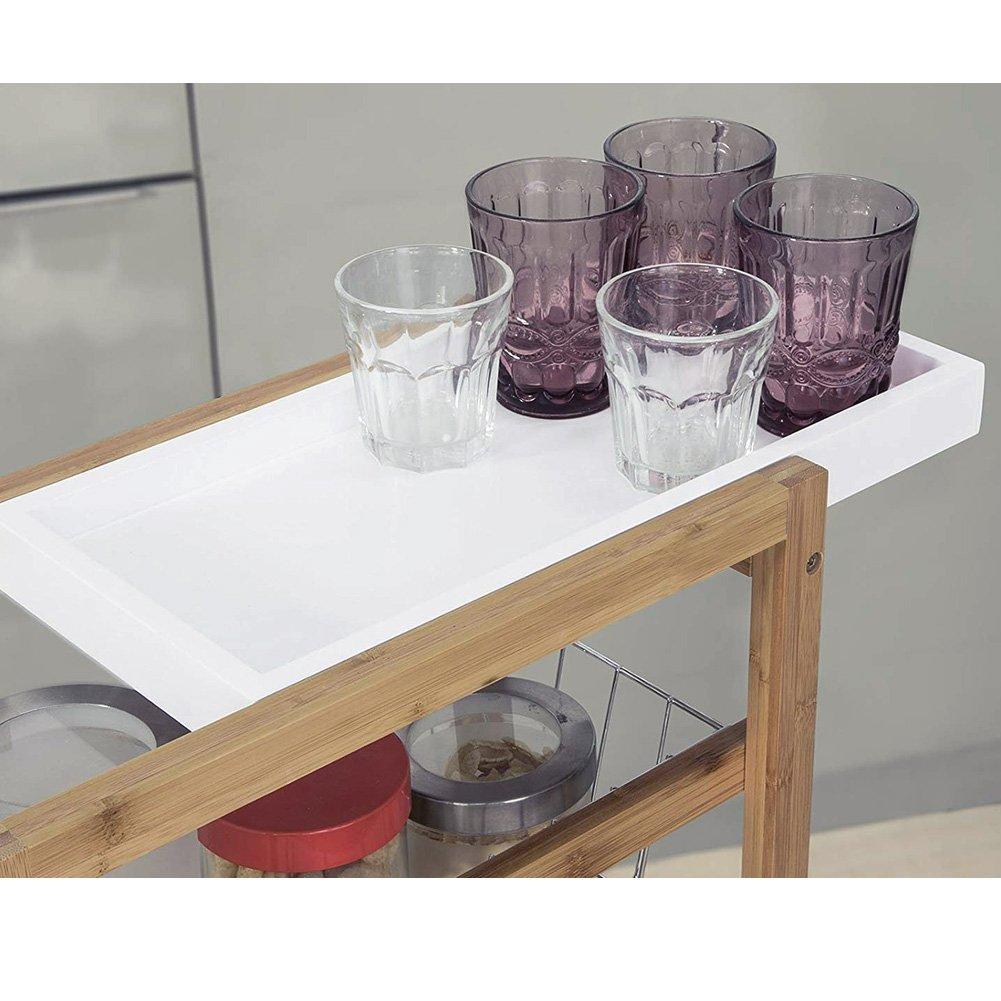 Carrello Carrellino Salvaspazio Slim da Cucina con 2 Cestini Portafrutta in Metallo 2 Vassoio Estraibili 4 Ruote Materiale Legno di Bamboo Colore Naturale