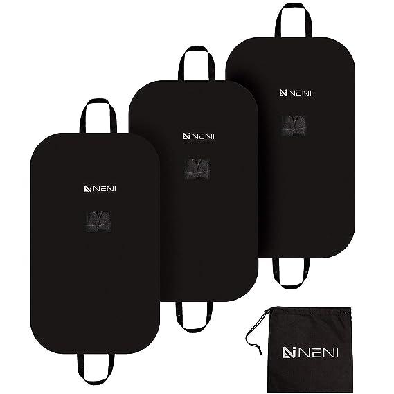 NENI Kleidersack 3er Set inkl. Schuhbeutel - Premium Kleiderhülle mit Sichtfenster für Anzug, Kleid und Hemden - Atmungsaktiv
