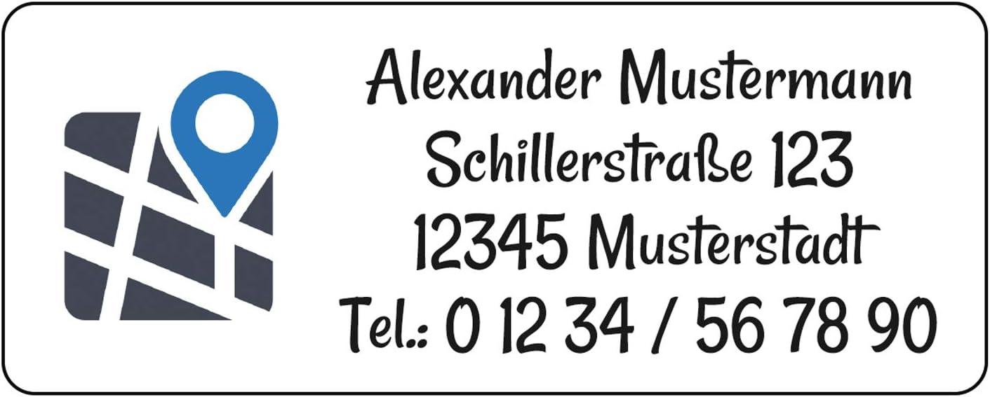 48x20 mm Adress-Etiketten Aufkleber individuell bedruckt mit Ihrem Wunschtext Design Location 144 St/ück