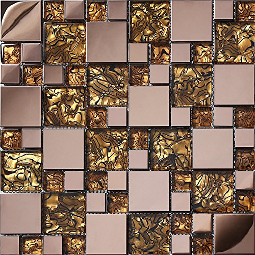 Gold foil glass brick rose golden stainless steel 3D kitchen backsplash/home wall decoration mosaic tiles pack of 11,SA073-16