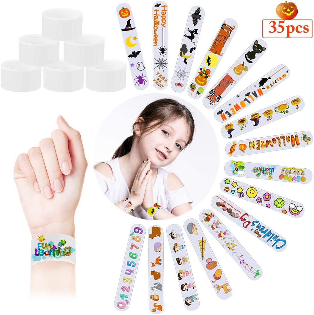 Bageek 35PCS Slap Bracelet Blank White Decorative Slap Band Party Bracelet for Kids DIY