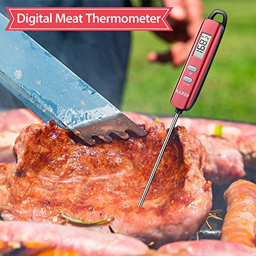 Meat Thermometer, Habor Instant Read Thermometer Cooking Thermometer Candy Thermometer with Super Long Probe for Kitchen Cooking BBQ Grill Smoker Meat Fry Food Milk Yogurt by Habor (Image #1)