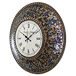 22.5 Fired Gold Wall Clock, Handmade Glass Mosaic Wall Clock, Quiet Motion Design by DecorShore