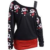 Damen Langarm, Frashing Weihnachten Sankt Ho Ho Ho Damen-Lange Sweatshirt  Weihnachtsminikleid Top Pullover 68679608f2