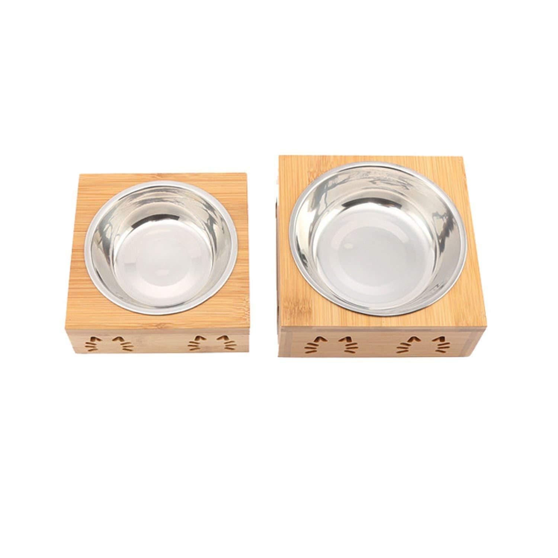 kiwi-dd Double Bowl Bamboo Stainless Steel Ceramic Pet Cat Bowl Dog Food Feeding Bowl