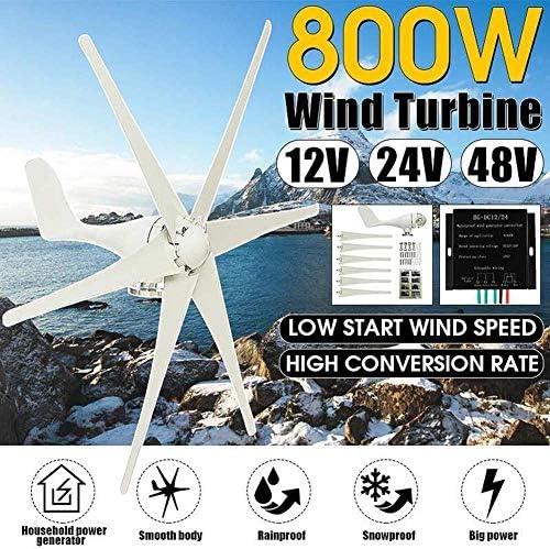 CTO Windgenerator + Controller 6 Blade-Windkraftanlagen Horizontale Heimenergie Windrad Energie Turbinen Lade 800W 12V / 24V / 48V (Spannung: 12 V),12V