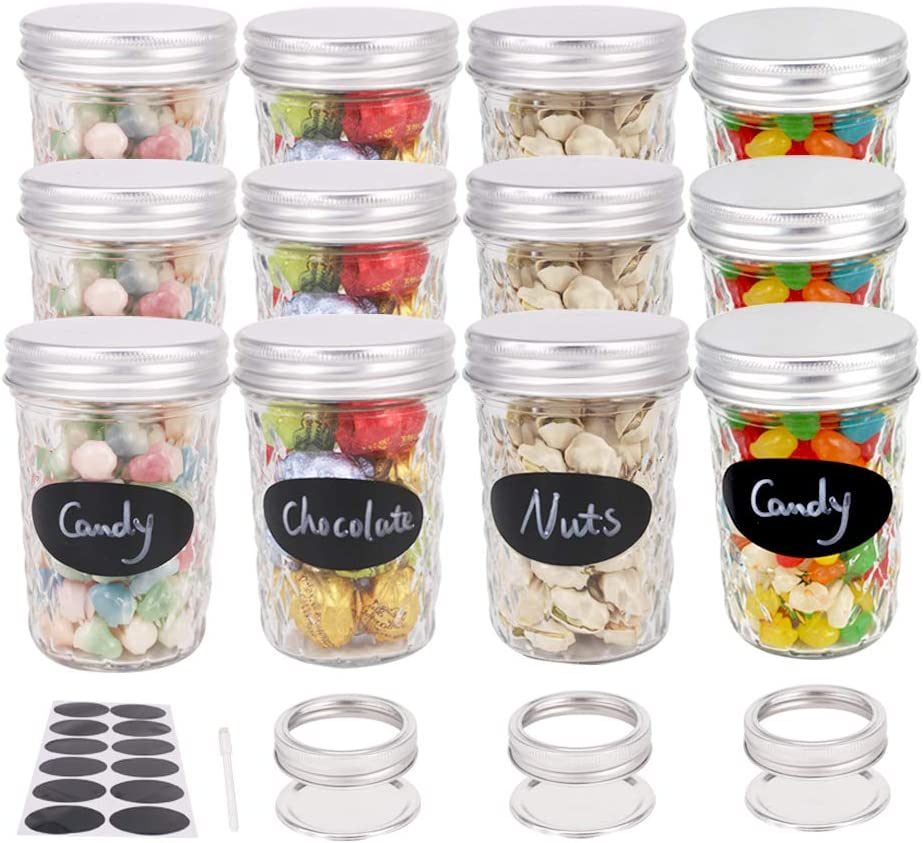 BPFY 12 Pack 8 oz Glass Mason Jars With Lids, Canning Jars for Jam, Honey, Baby Food, Candy, Cookie, Wedding Favor Decorating Jelly Jar, Candle Holder, Extra 6 Lids And Bands, 12 Chalk Labels, 1 Pen