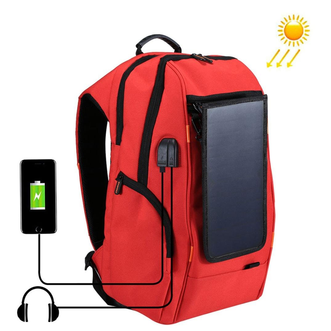 Fineser Fashion Multi-function Solar Panel Power Backpack, Outdoor Hiking Camping Travel College Bag with USB Charging and Headphone Port, Durable Waterproof Bookbag for Boys Girls Women Men (Red)