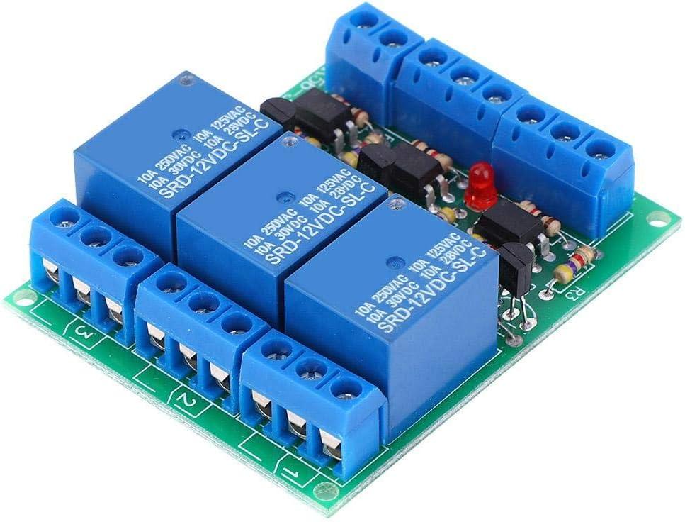 Módulo de Relé de Retardo Apagado Módulo de Relé de Tiempo de 10 a y 12 v Cc Interruptor de Temporizador de Disparador de Alto Nivel de Canal D3 con Aislamiento de Optoacoplador Normalmente Abierto