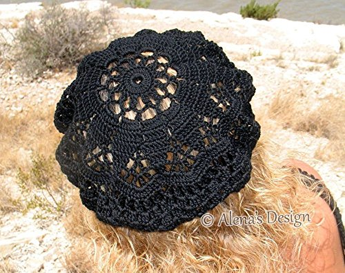 Crocheted Lace Beret Slouchy Hat Ladies Black Hat Teens Hat Handmade Christmas Gift Made in USA