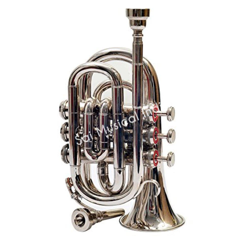 Sai Musical India PoTr-05, Pocket Trumpet, Bb, Nickel by Sai Musical India (Image #2)