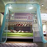 DE&QW U type court bunk bed mosquito net bed canopy, Rail type Children Bunk bed nets 50d encryption account yarn mosquito curtain-blue Twin2