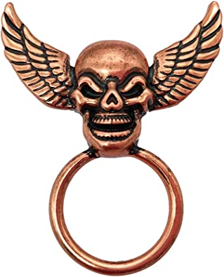 RUXIANG Double Wings and Skull Head Magnetic Glasses Holder Brooch Pin Clothes Jewelry Skull