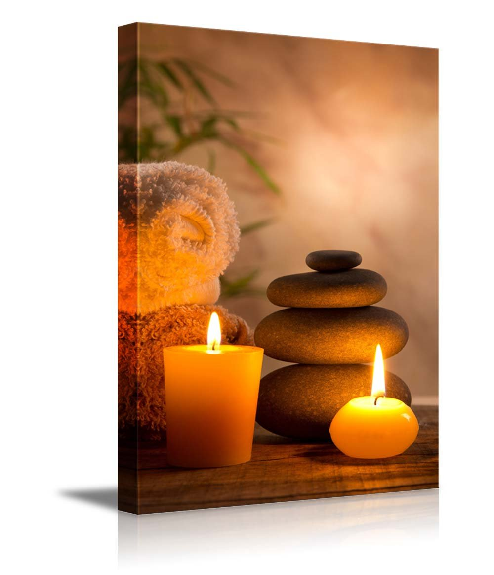 """wall26 - Spa Still Life with Aromatic Candles - Canvas Art Wall Decor - 24""""x36"""""""