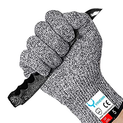 YINENN Cut Resistant Gloves with High Performance Level 5 Hand Protection,Food Grade Safety Kitchen Gloves for Oyster Shucking,Fish Fillet Processing- 2 Pai