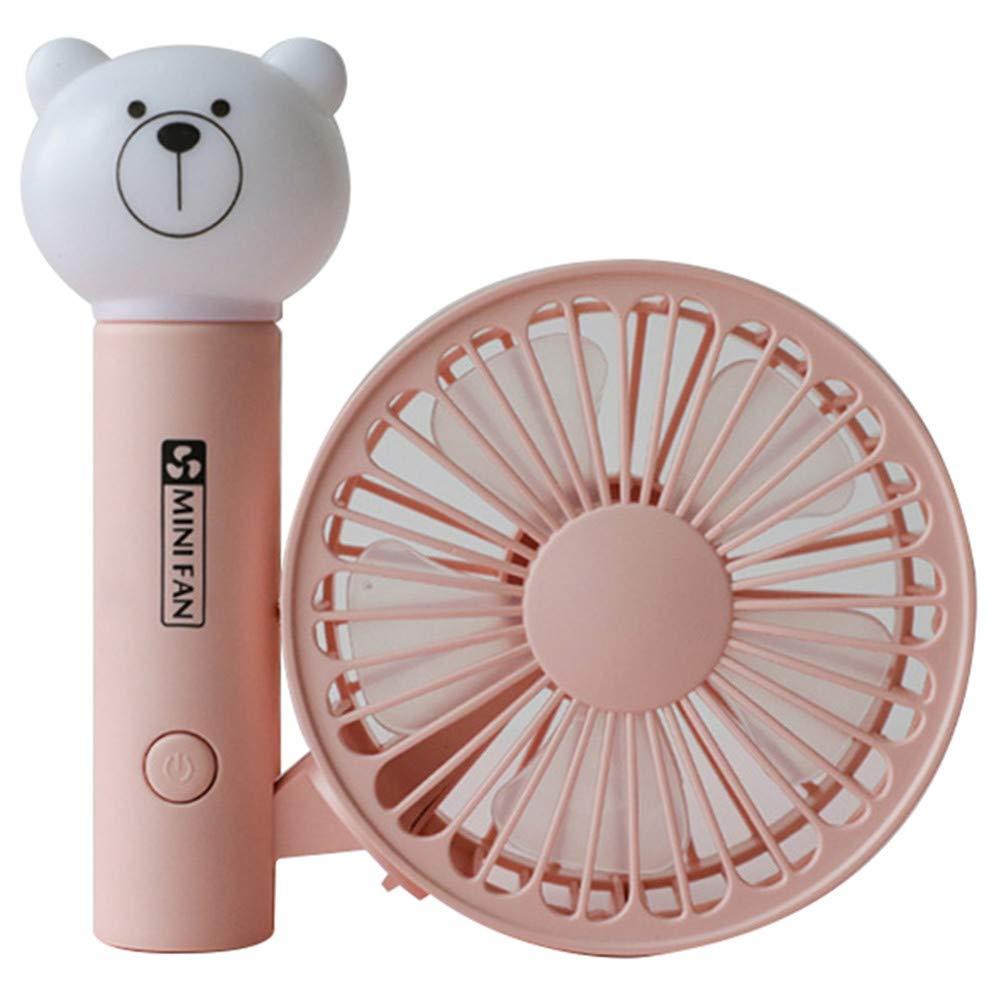 Framy Portable Handheld Fan Summer Home Small Fan Cute USB Charging Fan Study Table Lamp Fan Pink by Framy