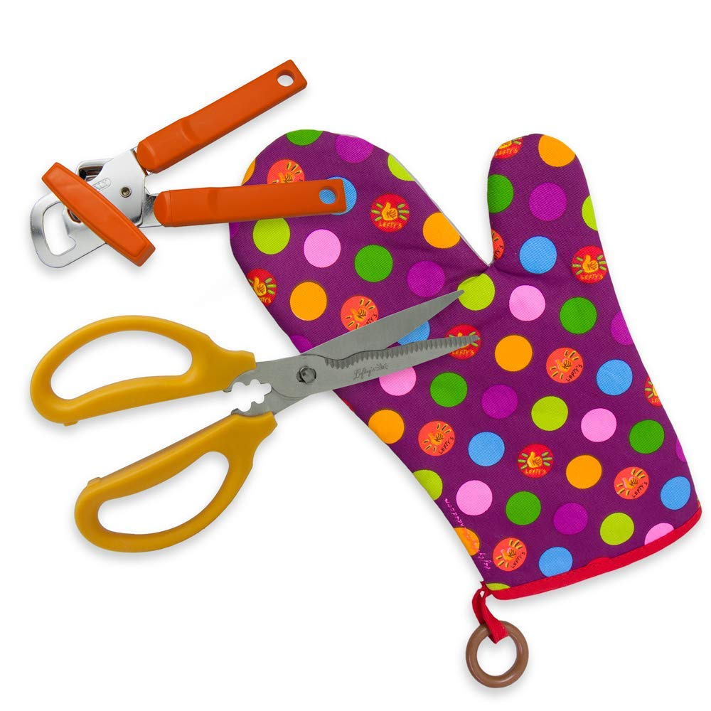 Left-handed 3 Piece Kitchen Shear Set Dotted Oven Mitt & Orange Can Opener by Lefty's The Left Hand Store
