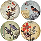 Rustic Chic by A&B Home Set of 4 Postage Stamp Plates, Multi offers