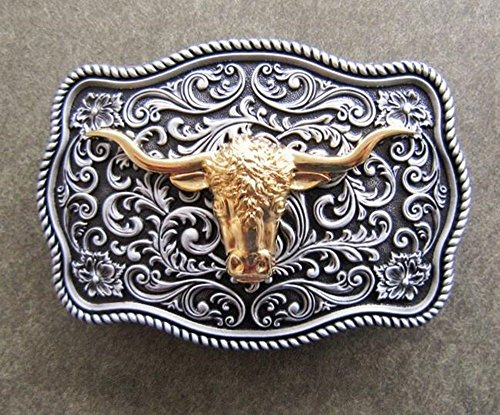 Belt Buckle Bull Head Long Horn Silver and Gold Western Cowboy Rodeo (Pewter Belt Buckle Confederate Flag)