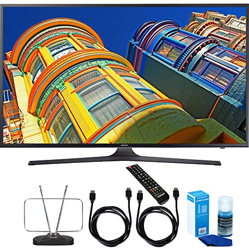 Samsung UN55KU6290 - 55-Inch Smart 4K UHD HDR LED TV Cord Bundle Includes, Durable HDTV and FM Antenna + 2x 6ft High Speed HDMI Cable + Screen Cleaner (Large Bottle) for LED TVs