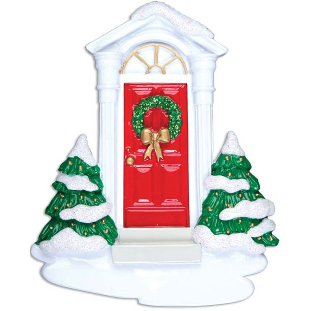Personalized New Red Door Christmas Ornament for Tree 2018 - Our 1st Snowy Apartment - Elegant Front Garnished First Home Family Neighbor House Window Ribbon Colonial - Free Customization by Elves