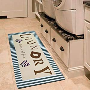 USTIDE Vintage Style Laundry Room Waterproof Floor Runners Non Skid Kitchen Floor Mat Farmhouse Washhouse Mat Bathroom Rugs Non-Slip Rubber Area Rug